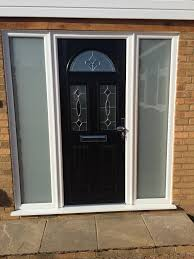 great front door with frosted glass panel exterior design solid black painted oak wood side sidelight stained porch security installation light insert blind