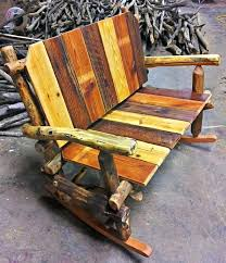 rustic rocking chairs wooden chair reclaimed wood bench furniture shabby chic painted entryway log porch swing