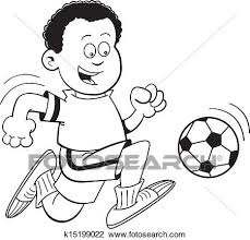漫画 アフリカ 男の子 サッカーをする クリップアート切り張りイラスト絵画集