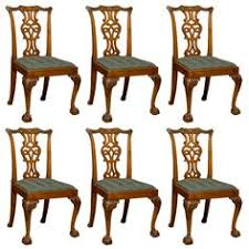 set of 6 chippendale style gany dining chairs ca 1890