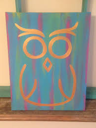 Easy Things To Paint Owl Canvas Gold On Mulitcolor Background Blue Owl Canvas Owl