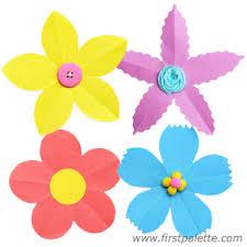 Flower Made By Paper Folding Folding Paper Flowers Craft 5 Petal Flowers Kids Crafts