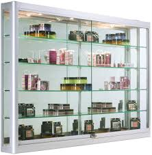wall mounted display cabinet with led lights z bar mounting