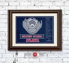 Atlanta Braves Suntrust Park Vintage Seating Chart Baseball Print