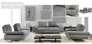 gia light grey italian modern leather sofa loveseat or chair set