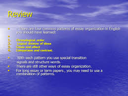 essay outlining an essay is longer and more complex than a review there are four common patterns of essay organization in english you should have learned