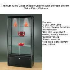 titanium alloy glass display cabinet led lights storage flat pack mandurah mandurah area image 2 1 of 2