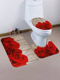 s red rose wood grain print bath rug set 3pcs