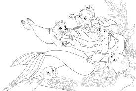 37 Ariel Color Page Princess Ariel In Pretty Dress Coloring Page