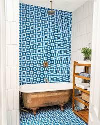 great use of los feliz nautical blue tile in this brooklyn bathroom ...