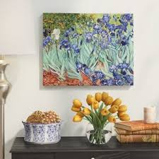 irises by vincent van gogh oil painting print on wrapped canvas on small lime green canvas wall art with green wall art you ll love wayfair