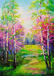 spring birch trees painting 70x50x2 cm 2018 by olha figurative