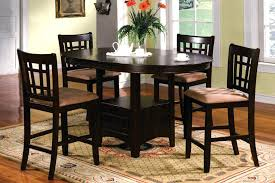high round dining table 5 counter height set walnut wood brown metal quality and chairs