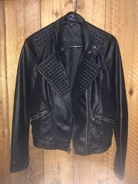 details about rock republic women black leather motorcycle jacket crop size s