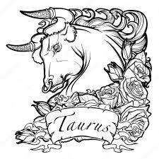 Astrologické Taurus Izolovaných Na Bílém Pozadí Stock Vektor