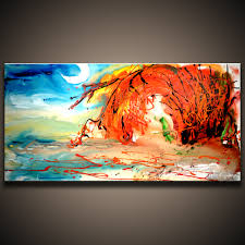 new landscape abstract painting meet you by the lake original acrylic art on canvas by peter dranitsin 48x24 canvas