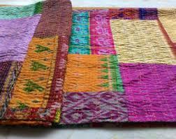 Sari quilt   Etsy & Exquisite Double Patchwork silk kantha quilt 90 X 108 inches throw/sari  quilt/coverlet Adamdwight.com