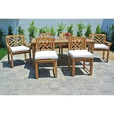 7 teak outdoor patio furniture dining set with rectangle table sets chairs home depot