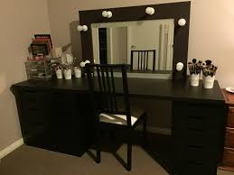 black makeup vanity with drawers large black wooden makeup vanity with drawers and rectangle mirror
