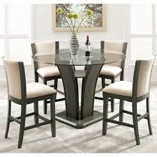 Round Glass Dining Table And Chairs Set For 4 Small Good Extending