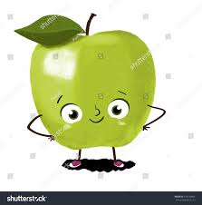green apple fruit drawing. drawing of an green apple with eyes, arms and legs. fresh fruit vitamins a
