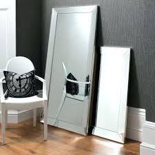 white floor mirror. White Framed Floor Mirror Luxurious Mirrored Beneath Gray Wall