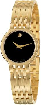 0606069 movado esperanza ladies gold tone black watch movado esperanza 0606069 image 0