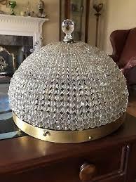 antique french crystal beaded shade basket chandelier flush mount 14 4 light