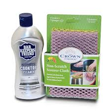 bar keepers friend cooktop cleaner kit 13 oz and non scratch scourer scrubbing cloth