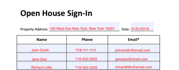 Open House Sign In Simple Real Estate Open House Sign In Sheet Eforms Free