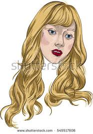 beautiful young fashion with long curly blonde hair green eyes and pink lipstick lips