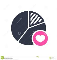 Pie Chart Icon Business Icon With Heart Sign Pie Chart