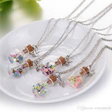 wishing bottle necklace drift bottle pendant mini cork stopper clear glass bottles vials decorative container storage pendant