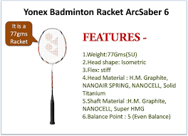Specification Of Yonex And Li Ning Badminton Racket