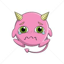 cute devil crying vector graphic