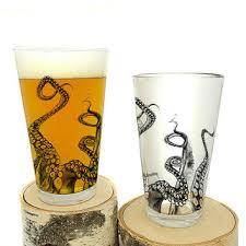 octopus pint glasses screen printed glassware set of two 16oz pint glasses