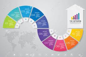 Chart Design 10 Steps Arrow Infographics Chart Design Element For Data Presentation