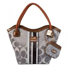 Coach Braided In Signature Small Grey Totes 115