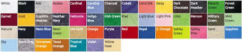 T Shirt Details Color Chart Glow In The Dark T Shirts By