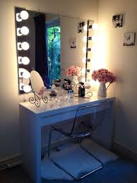 charming makeup table mirror lights. Adorable Bedroom Vanity Mirror With Lights For Advanced Dressing Spot : Charming Flowers Put On Chic Makeup Table S