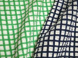 Sellout Product Cotton Linen Loan Ripple Rough Graph Paper Check Print Green Navy M Order Cut Cloth 10cm Unit Made In Japan