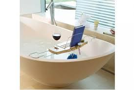 aquala bathtub caddy with wine glass holder