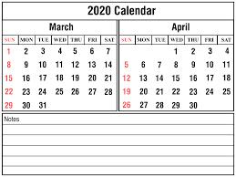 March April 2020 Calendar Printable March Calendar Template