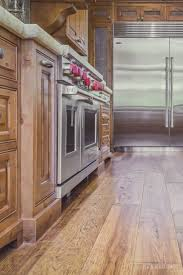 Professional Kitchen Flooring Custom Hand Scraped Hickory Floor In Cupertino