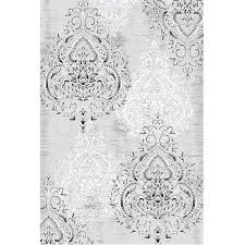 picture of damask gray white rug