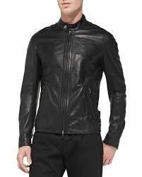 men s black slim fit biker style leather motorcycle jacket