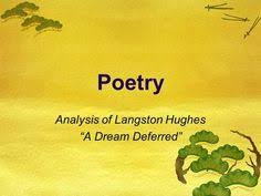 dreams and a dream deferred by langston hughes poetic devices  langston hughes dream deferred essay contest the dream deferred essay contest was inspired by a 1951 langston hughes poem what happens to a dream deferred