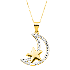 details about eternity gold moon star pendant in 14k gold with rhodium finish