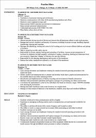Operations Resume Examples Warehouse Operations Resume Sample Resume Resume