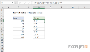 Inches To Tenths Of Feet Chart Excel Formula Convert Inches To Feet And Inches Exceljet